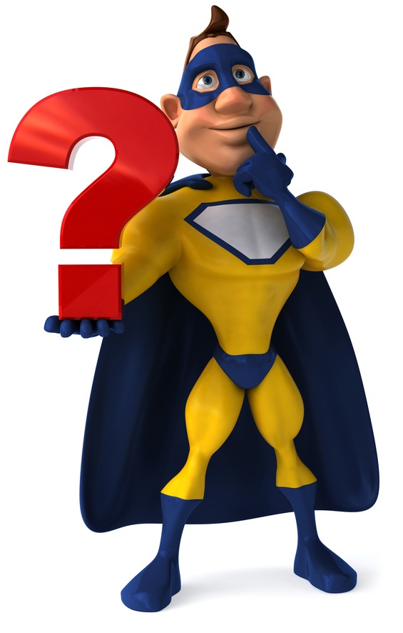 Superhero Holding Question Mark